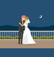 wedding day happy just married couple romantic vector image vector image