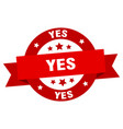 yes ribbon yes round red sign yes vector image vector image
