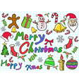color doodle christmas background vector image