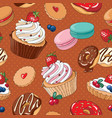 sweet desserts seamless pattern vector image