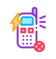 broken phone icon outline vector image