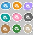 Cash register machine icon symbols Multicolored vector image