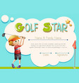 certificate template for golf star vector image vector image