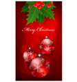 Christmas background with balls on red vector image vector image