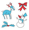 christmas set holly berries snowman bow deer vector image vector image