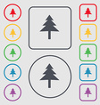 Christmas tree icon sign symbol on the Round and vector image vector image