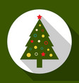 christmas tree on green background with long vector image vector image