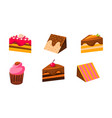 collection cakes set piece various vector image vector image