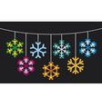 collection of snowflakes with lights vector image