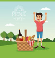 colorful poster scene landscape of picnic day with vector image vector image