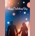 couple silhouette holding hands over glowing bokeh vector image vector image