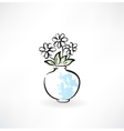 flowers in a vase grunge icon vector image vector image