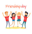friends congratulating each other holding hands up vector image vector image