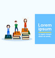 girl man character on podium books stack looser vector image