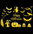golden halloween icons set vector image
