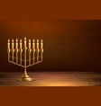 hanukkah jewish holiday menorah wood table vector image vector image