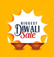 happy diwali sale yellow banner design vector image vector image