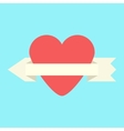 heart and arrow-ribbon icon vector image vector image
