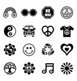 Hippie icon set vector image