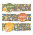 horizontal autumn banners set vector image vector image