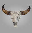 isolated low poly buffalo skull vector image vector image