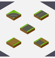 isometric way set of footpath unfinished bitumen vector image vector image