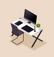 isometry desktop comfortable workplace monitor vector image
