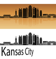 Kansas City V2 skyline in orange vector image vector image
