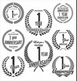 laurel wreaths anniversary collection 1 year vector image