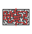 maze with red path top view vector image vector image