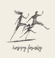mother father child silhouette logo family vector image