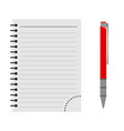 notebook with a red pen vector image vector image