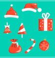 objects christmas symbols red with white isolated vector image