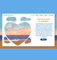 one page website related to vacation trips and vector image