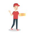 pizza delivery boy handing three pizza boxes vector image vector image