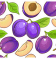 plum fruits pattern on white background vector image