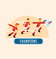 red soccer players team celebrate with trophy vector image