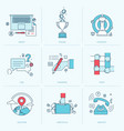 set flat line icons for business vector image vector image