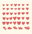 set of red hearts in different shapes and styles vector image