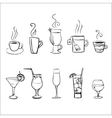 Set of sketchy drinks vector image vector image