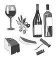set wine a glass of wine a vector image vector image