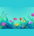 summer border with paper cut fantasy flowers vector image vector image