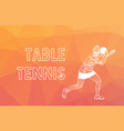 table tennis player triangle polygonal low poly vector image vector image