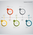 time line info graphic with colored round design vector image vector image