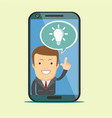 virtual assistant - businessman hi-tech flat vector image