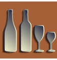 Wine bottle sign set bottle icon crockery vector image
