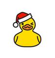 yellow rubber duck in santa claus hat vector image vector image