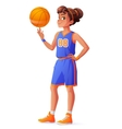 young pretty basketball player girl vector image vector image