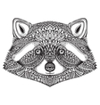 Hand drawn raccoon face in doodle ornate style vector image