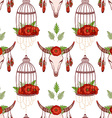 Seamless pattern with skull cow poppies in cages vector image